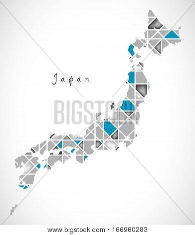 Japan Map Crystal Diamond Style Artwork