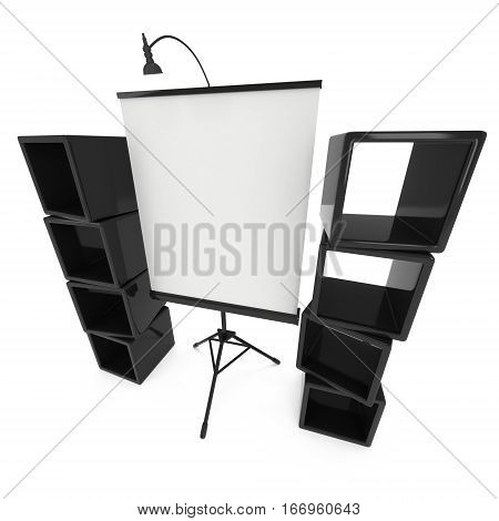 Blank Roll Up Expo Banner Stand on Tripod and product display boxes. Trade show booth white and blank. 3d render illustration isolated on white background. Template mockup for your expo design.