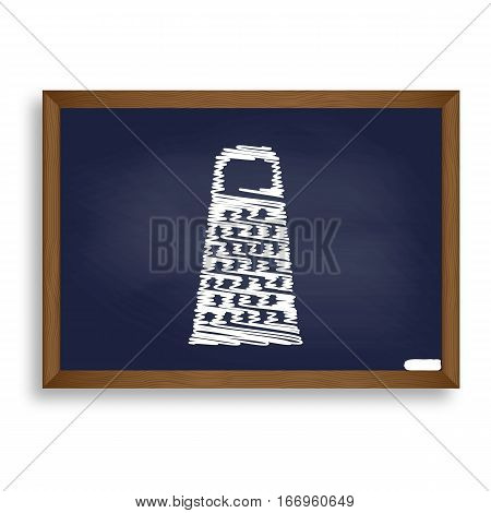 Cheese Grater Sign. White Chalk Icon On Blue School Board With S