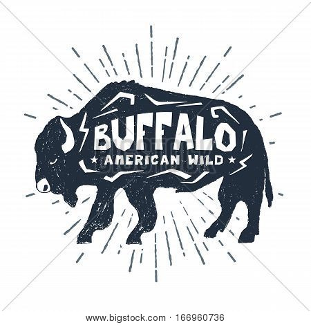 Hand drawn label with textured buffalo vector illustration and