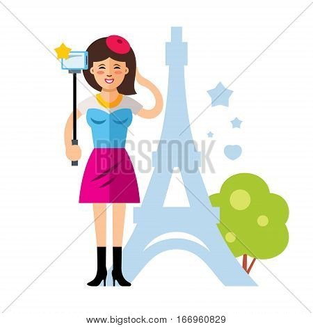 Girl photographed in memory on Eiffel Tower background