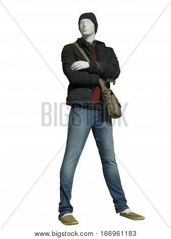 Full-length male mannequin wearing brown jacket and blue jeans isolated. No brand names or copyright objects.