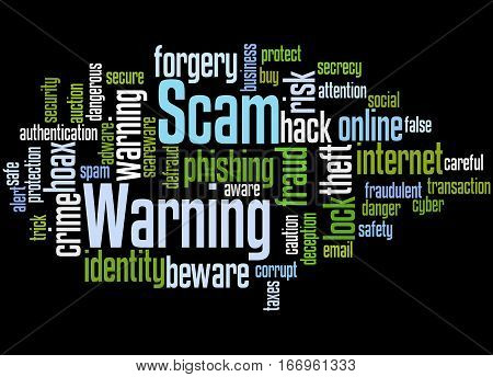 Scam Warning, Word Cloud Concept