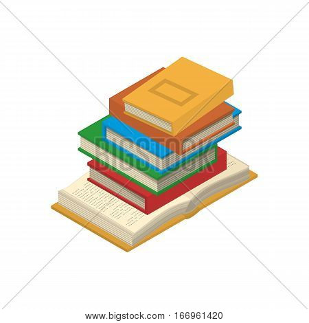 Vertical stack of new 3d colorful books and tutorials on a bookshalf and one open book. Isometric flat classbooks and textbooks icon. Education symbol logo. Illustration vector art.