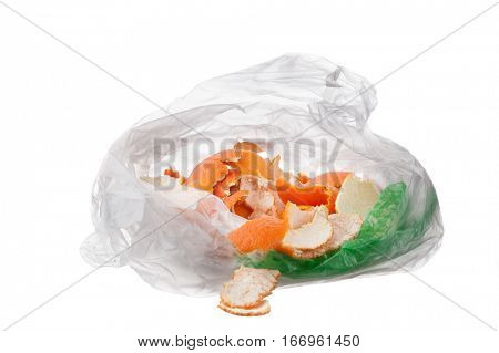 Image of bag filled with kitchen waste, compost collecting, organic waste