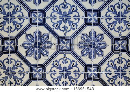 Ceramic blue patterns tiles from Lisbon, Portugal
