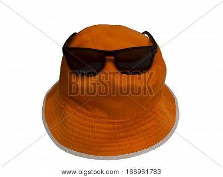 Sunhat and sunglasses isolated on white background.