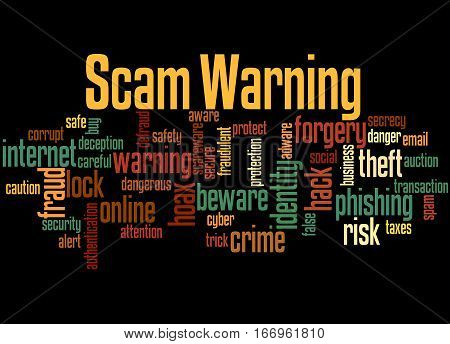 Scam Warning, Word Cloud Concept 6