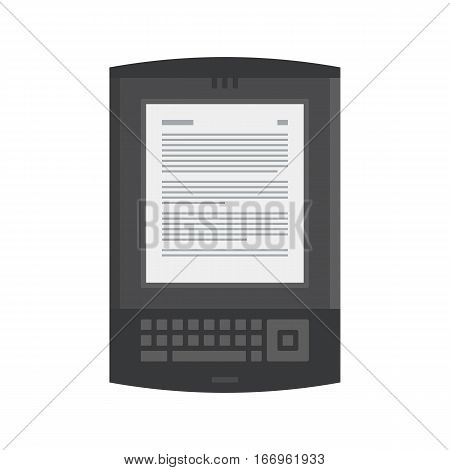 Tablet computer books for reading. Modern device with cloud technology. Mobile education concept. Electronic mobile black book with keyboard. Flat style vector isolated icon illustration.