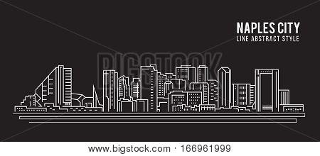 Cityscape Building Line art Vector Illustration design - Naples city