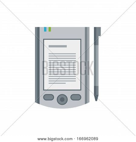 Tablet computer books for reading. Modern device with cloud technology. Mobile education concept. Electronic mobile book with stylus. Compact computer. Flat style vector isolated icon illustration.