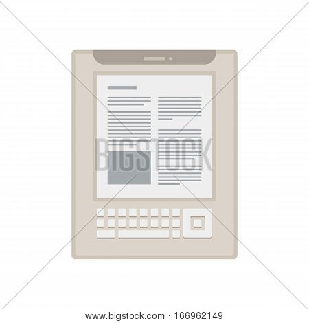 Tablet computer books for reading. Modern device with cloud technology. Mobile education concept. Electronic mobile white book with keyboard. Flat style vector isolated icon illustration.