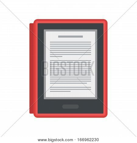 Tablet computer books for reading. Modern device with cloud technology. Mobile education concept. Electronic mobile book with with red cover. Flat style vector isolated icon illustration.