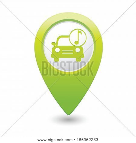 Car service. Car with music icon on green map pointer. Vector illustration