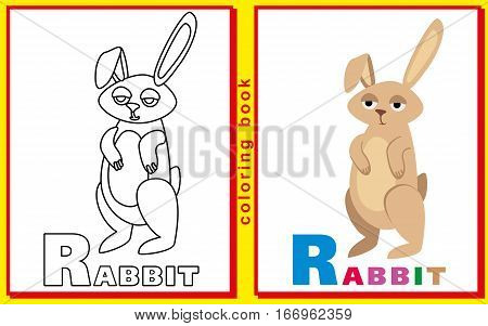 rabbit. children's coloring book with letters and words
