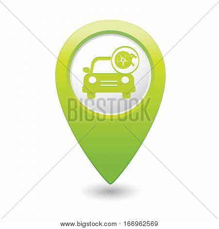 Car service. Car with wheel and tools icon on green map pointer. Vector illustration