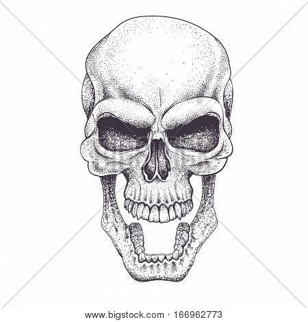 Angry skull.Dotwork.Isolated on white background. Vector illustration