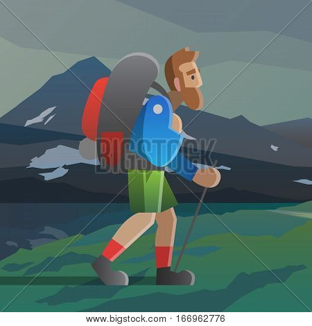 Vector illustration on the theme of hiking, backpacking, climbing, traveling, trekking, walking. Man with backpack walking in the mountains. Adventure in the mountains, outdoor recreation, vacation.