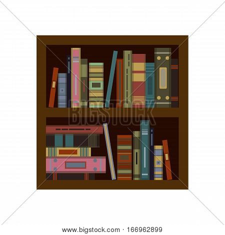 Huge stack of old flat colorful books and tutorials on a bookshalf. Modern flat classbooks and textbooks icon. Education symbol logo. Illustration vector art.