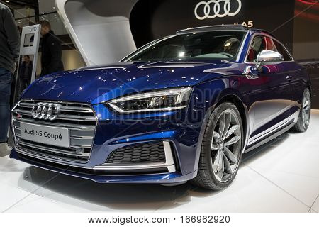 BRUSSELS - JAN 19, 2017: Audi S5 Coupe presented at the Motor Show Brussels.