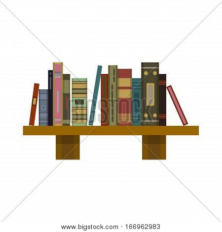 Stack of old flat colorful books and tutorials on a bookshalf. Modern flat classbooks and textbooks icon. Education symbol logo. Illustration vector art.