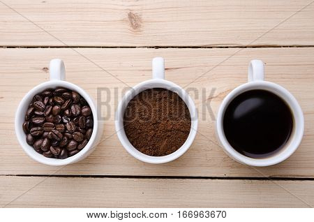 Coffee. Cups With Coffee. Coffee Beans .