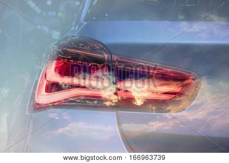 The Closeup Back Red Tail light car Double exposure