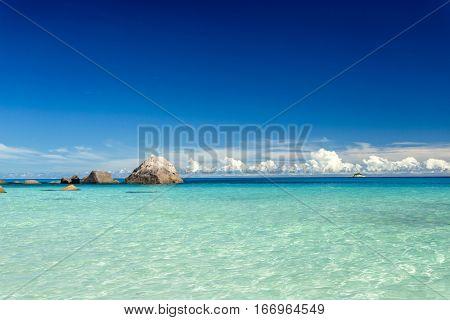 Beautiful view of Anze Lazio beach in Praslin, Seychelles
