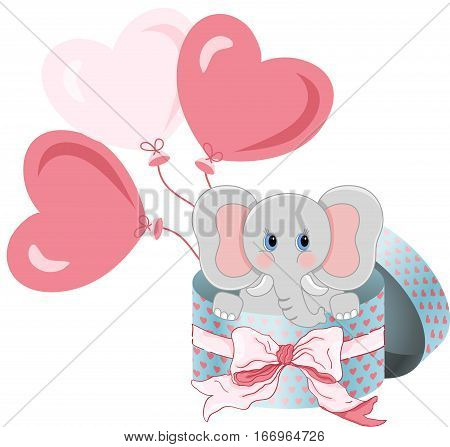 Scalable vectorial image representing a elephant in round gift box with bow ribbon and balloons, isolated on white.