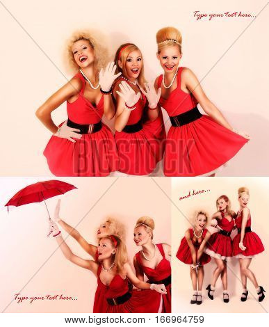 collage of pin-up postcard with three retro girls on it. red dress.