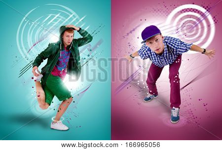 Collage of two images of hip-hop dancer on coloured background.