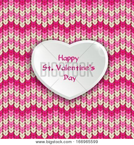 Knitter seamless pattern, Valentine day greeting card.