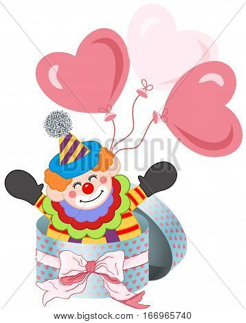 Scalable vectorial image representing a happy clown in round gift box with bow ribbon and balloons, isolated on white.
