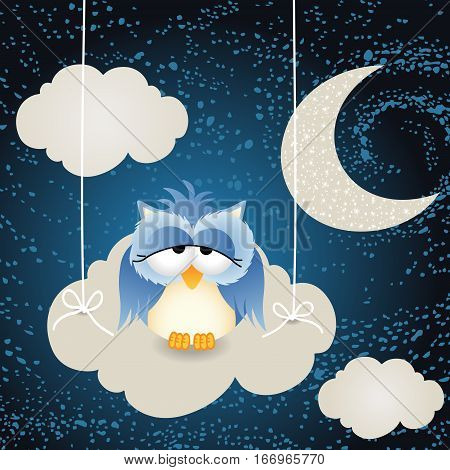 Scalable vectorial image representing a owl on a night cloud sky background.