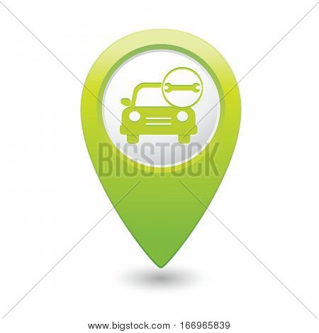 Car service. Car with tool icon on green map pointer. Vector illustration
