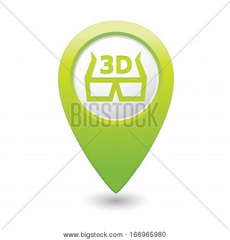 Map pointer with 3D glasses icon. Vector illustration