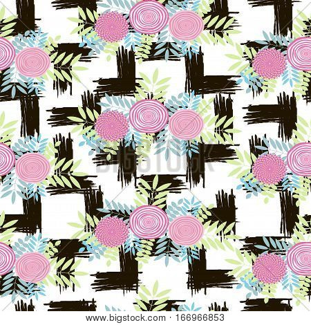 Creative seamless pattern with colorful flowers. Vector illistration
