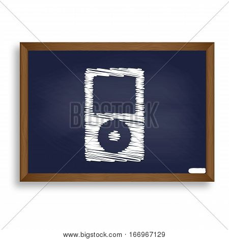 Portable Music Device. White Chalk Icon On Blue School Board Wit