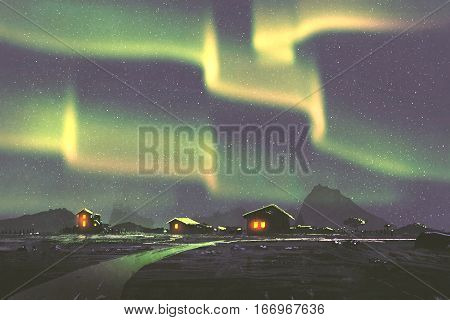 night scenery of village under the Northern lights Aurora borealis illustration painting