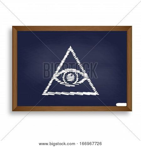 All Seeing Eye Pyramid Symbol. Freemason And Spiritual. White Ch