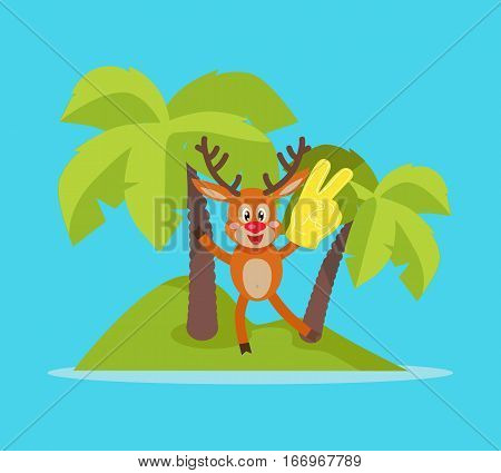 Vacation on tropic island cartoon concept. Joyful horned reindeer with foam victory fingers on small island with palm trees flat vector illustration isolated on blue background. For travel company ad