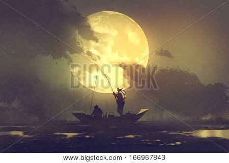 silhouette of fishermen with fishing rod on boat and big moon on background, illustration painting
