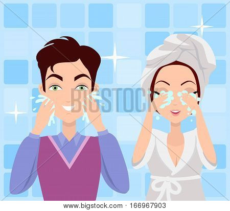 Man and woman washing their faces. Cleaning in the morning. Making washing procedure in front of the mirror. People take care about their look. Part of series of ladies and gentlemen face care. Vector