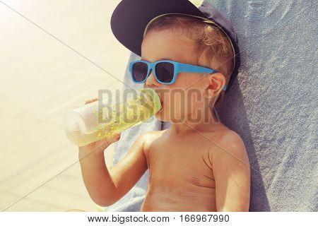 Cool And Cute Boy Sunbathing