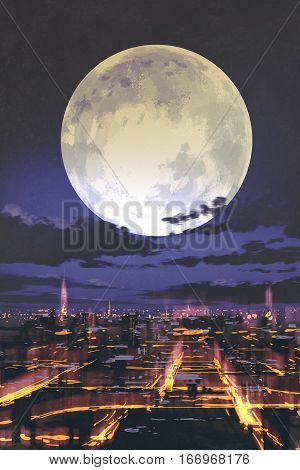 night scenery of full moon over night city skyline with colorful light, illustration painting