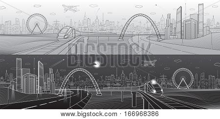 Architectural and infrastructure panorama. Train rides on bridge. Business center, modern city, towers and skyscrapers, urban scene, vector design art