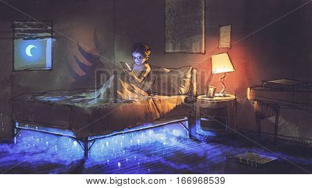 boy reading tablet in bedroom and something under the bed, illustration painting