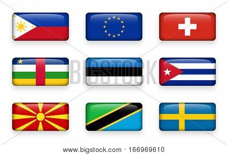 Set of world flags rectangle buttons ( Philippines . European union (EU) . Switzerland . Central African Republic . Estonia . Cuba . Macedonia . Tanzania . Sweden )