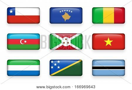 Set of world flags rectangle buttons ( Chile . Kosovo . Mali . Azerbaijan . Burundi . Vietnam . Sierra Leone . Solomon Islands . Botswana )