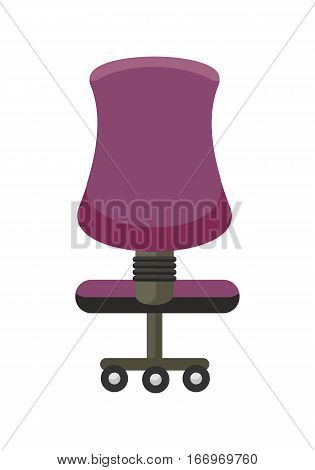 Purple office chair icon. Office chair in colorful flat design style. Chair on wheels. Office workplace design element. Isolated object on white background. Vector illustration.